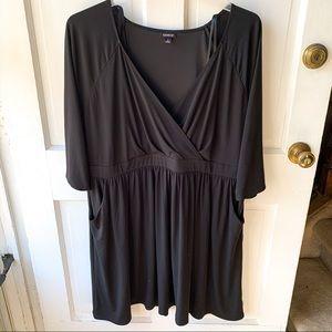 Torrid Black Faux Wrap Dress, Size 4X